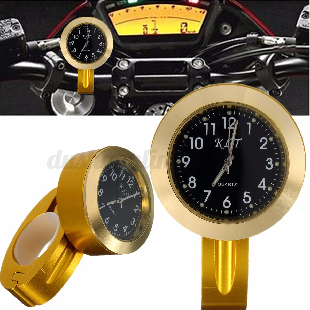 universal montre guidon horloge chrom pour moto scooter v lo 22mm 25mm 7 8 39 39 1 39 39 ebay. Black Bedroom Furniture Sets. Home Design Ideas