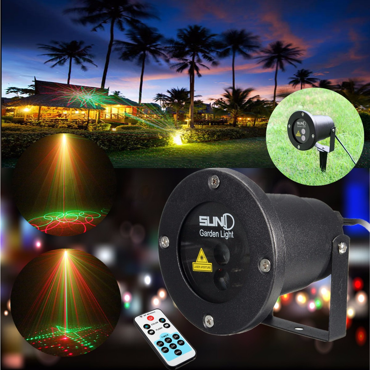 Rf led laser projecteur lumiere etanche ip68 ext rieur for Eclairage laser exterieur