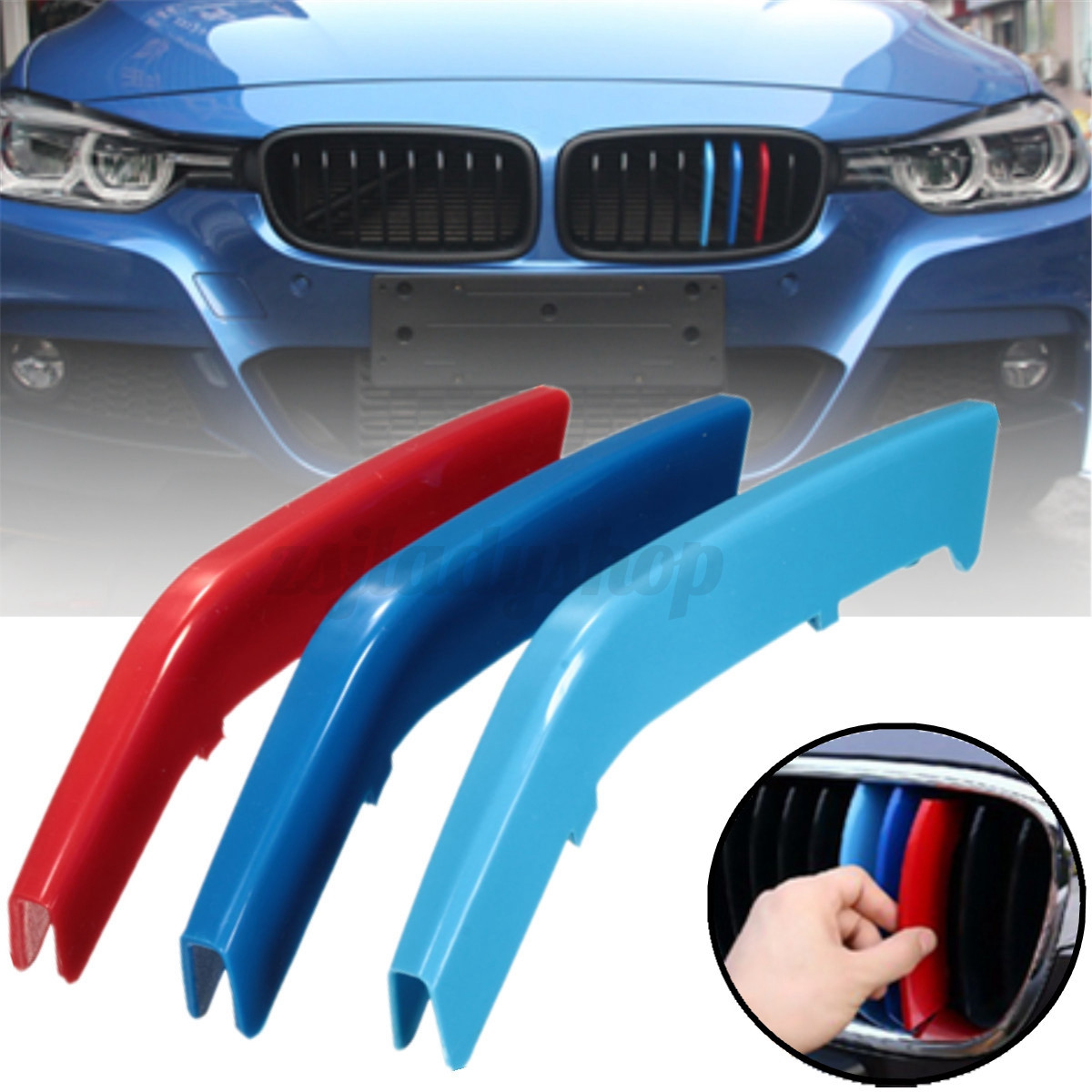Bmw M Series Logo >> M Color ABS Kidney Grill Bar Grille Covers Decal Strip Clip For BMW 3 Series F30 | eBay
