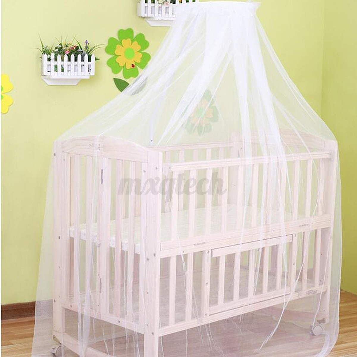 Round dome baby bed mosquito mesh curtain net for toddler for Baby crib net