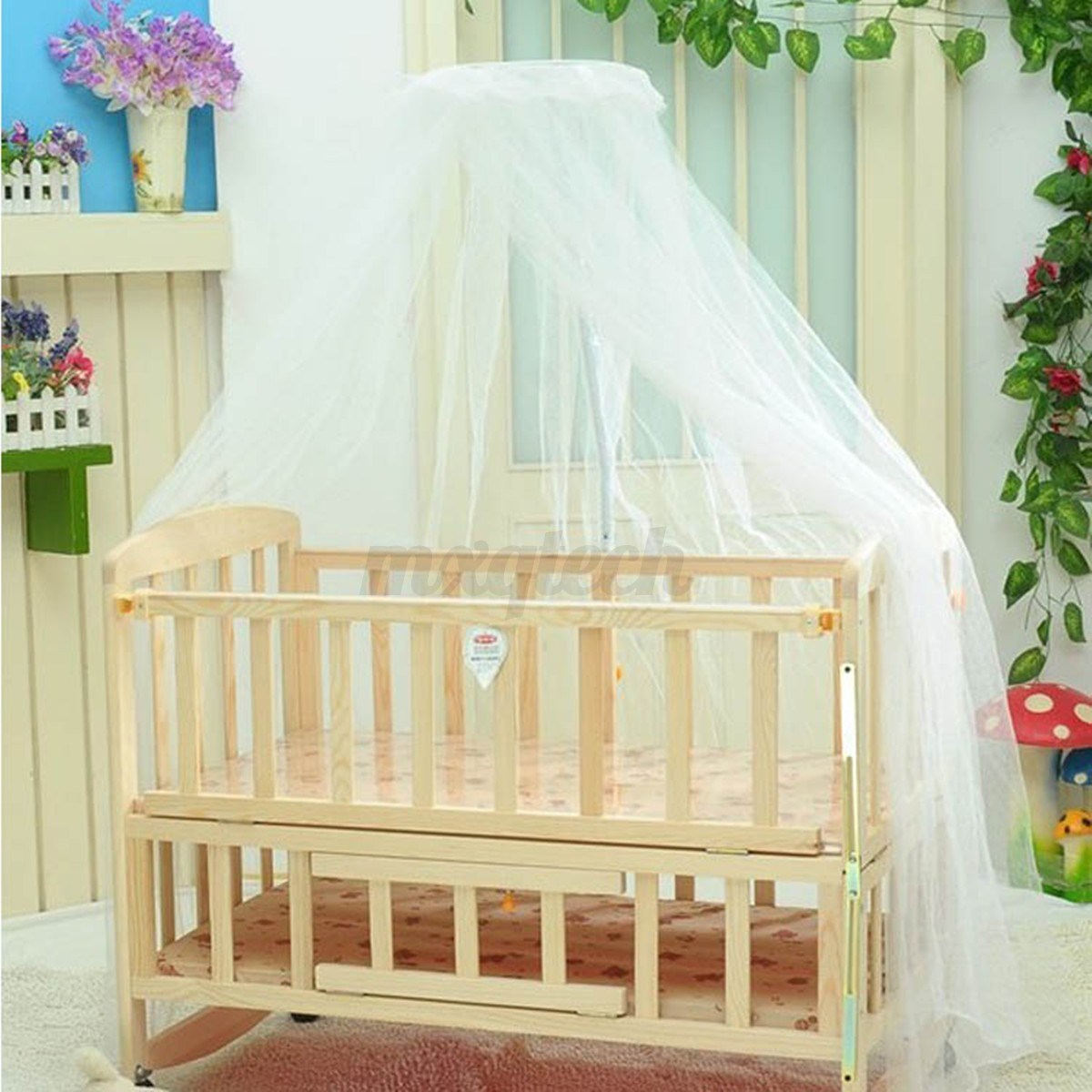 Round dome baby bed mosquito mesh curtain net for toddler for Round bed for kids