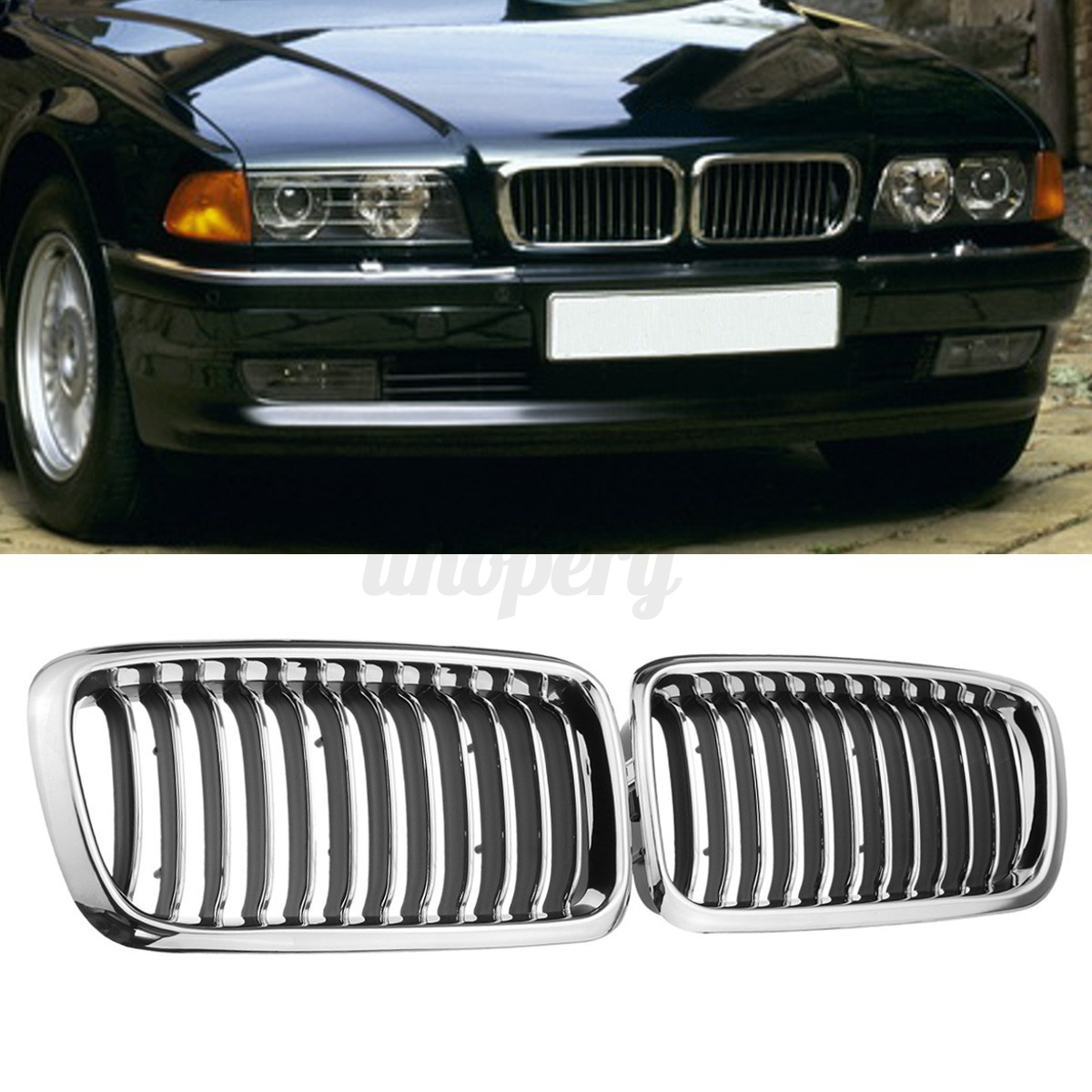 Bmw Grills: Pair Chrome Black Front Bumper Grille Grill For BMW E38