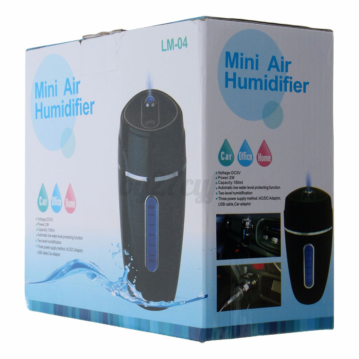 Kit Air Purifier Freshener Auto USB LED Humidifier Purifier Diffuser #2973A2
