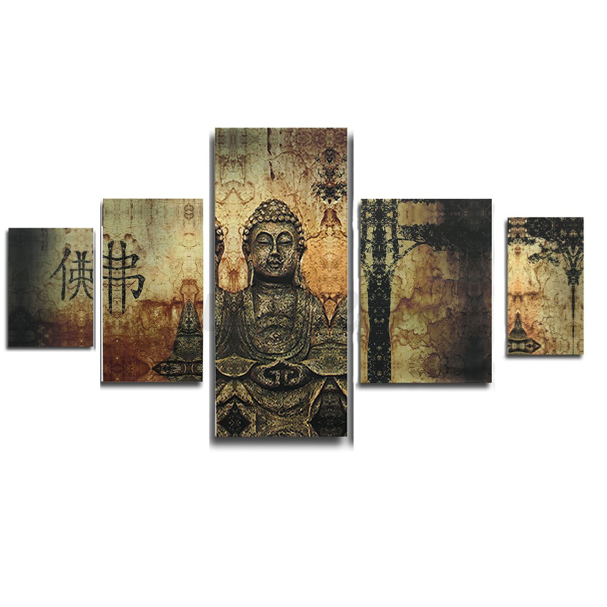 Huge Modern Oil Painting Sets Buddha Cheap Abstract Wall Art Canvas