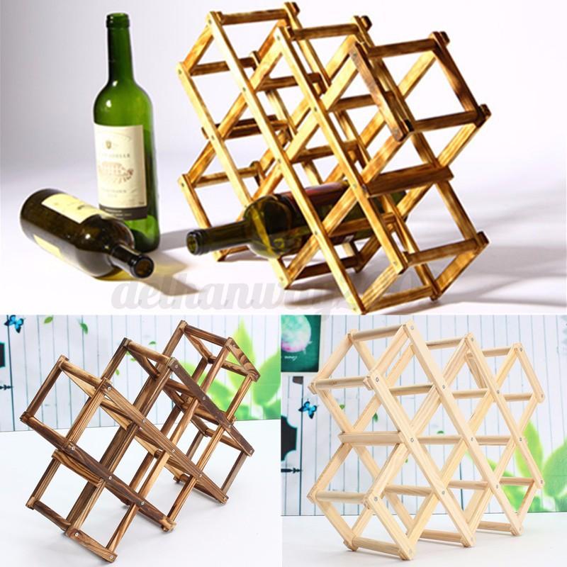 Foldable Wooden 10 Wine Bottles Holder Rack Stand Storage Shelf Cabinet Mount 2