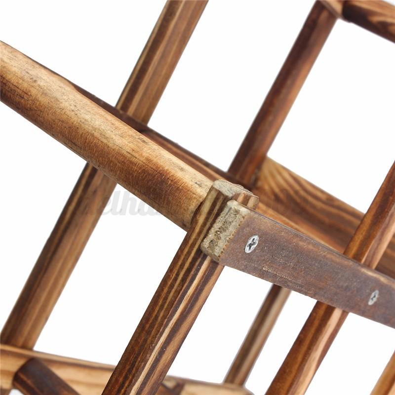 Foldable Wooden 10 Wine Bottles Holder Rack Stand Storage Shelf Cabinet Mount 5