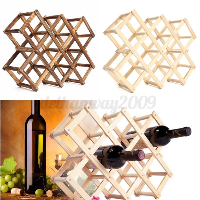 Foldable Wooden 10 Wine Bottles Holder Rack Stand Storage Shelf Cabinet Mount