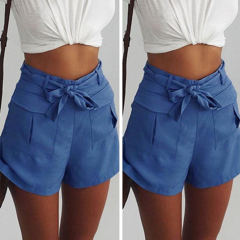 98e7ee4f1a06cd Das Bild wird geladen Fashion-Damen-High-Waist-Pockets-Sommer-Casual-Shorts-