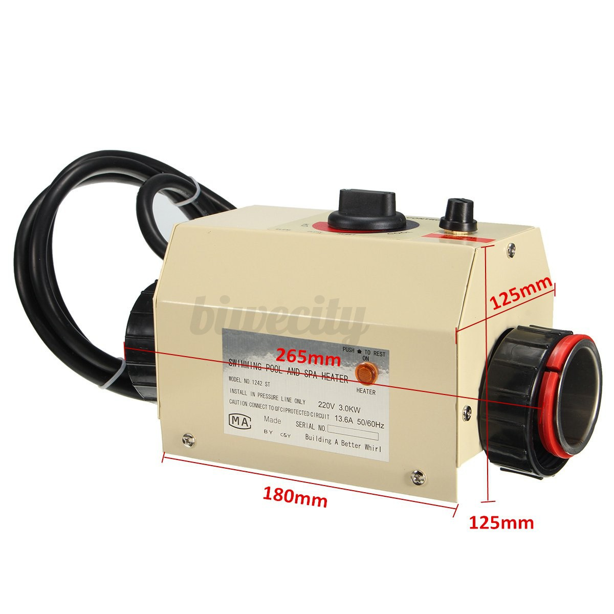 3kw 220v swimming pool bath spa hot tub electric water heater thermostat ebay for Intex 3kw electric swimming pool heater