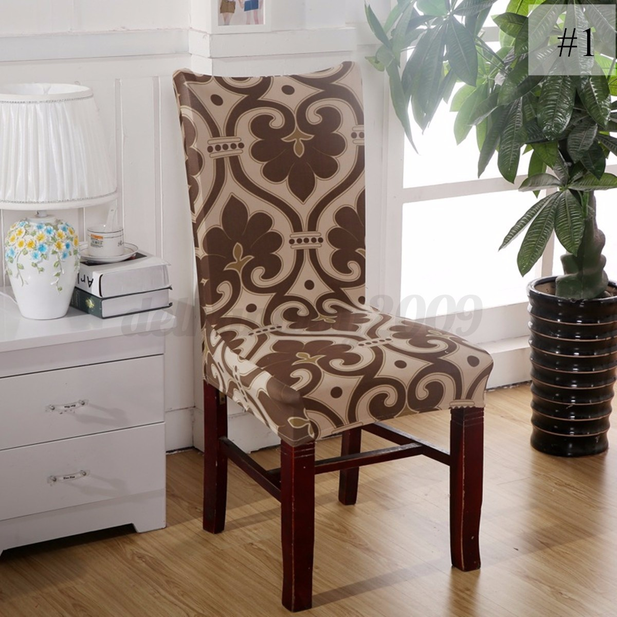 4 X Removable Stretch Elastic Dining Room Chair Seat Cover Protector Slipcove