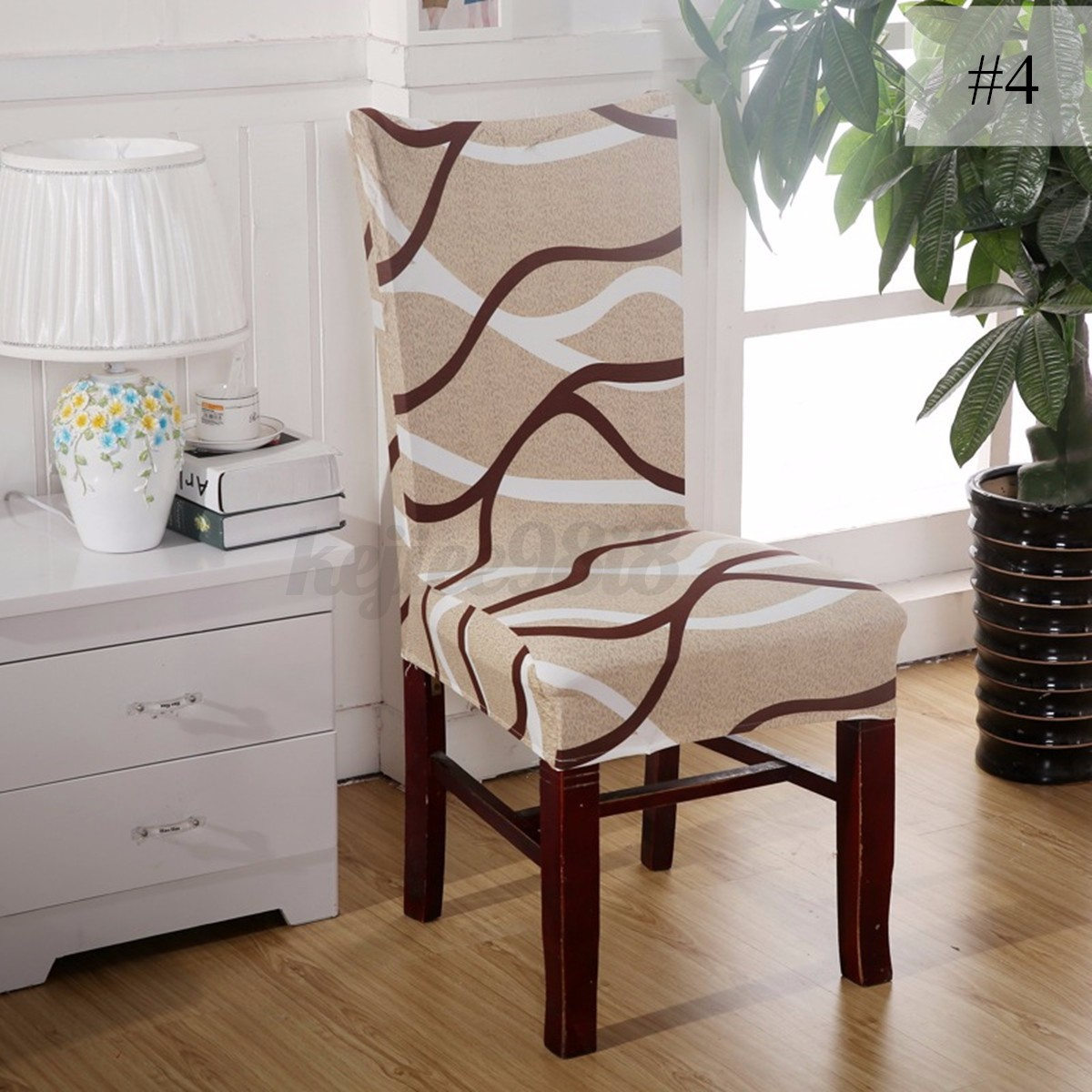Removable elastic stretch slipcovers short dining room for Dining room chair covers