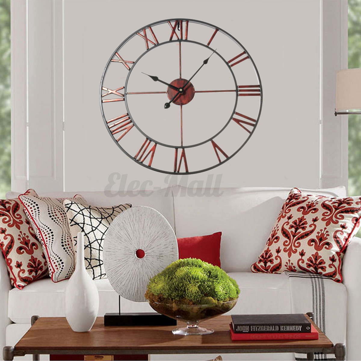 Classic Large Metal Wrought Iron Wall Clock Roman Numerals