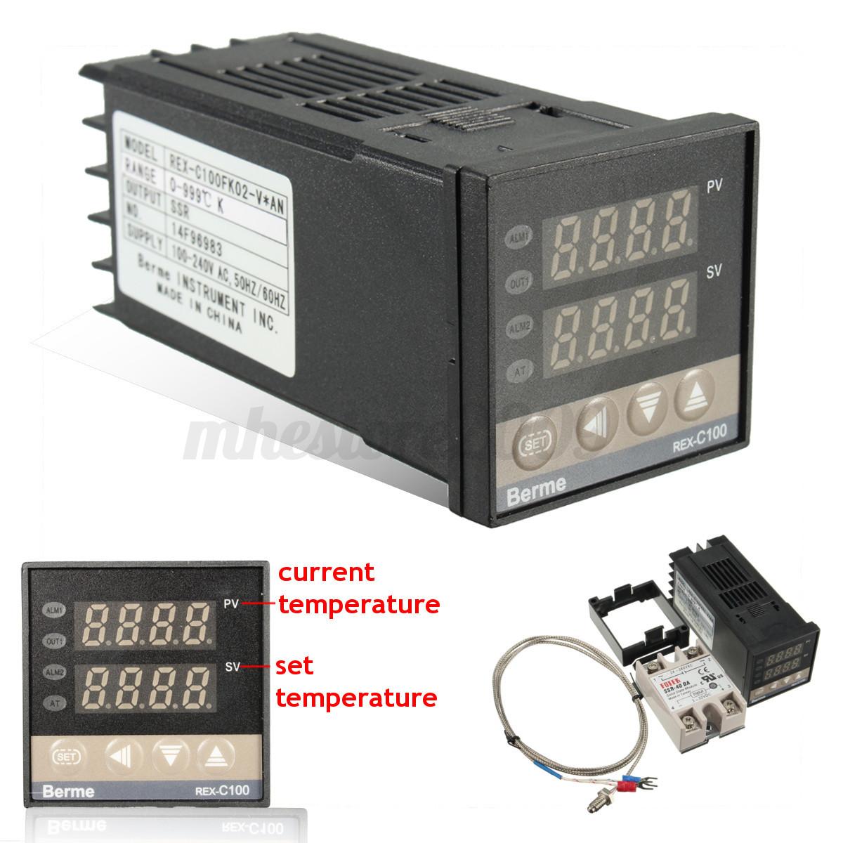 220V AC PID REX C100 Temperature Controller Max.40A SSR K Thermocouple #B41717