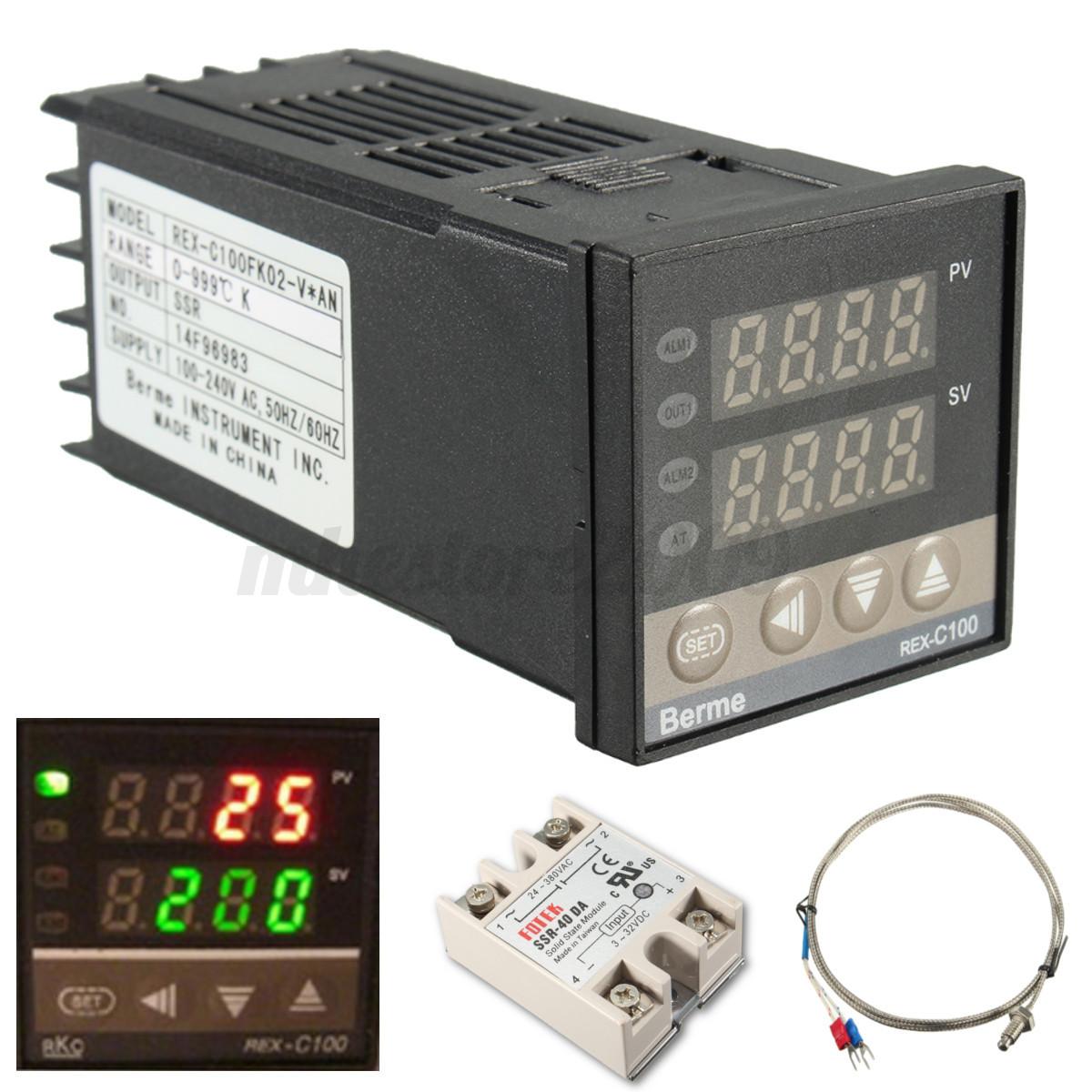 220V AC PID REX C100 Temperature Controller Max 40A SSR K Thermocouple #28B516