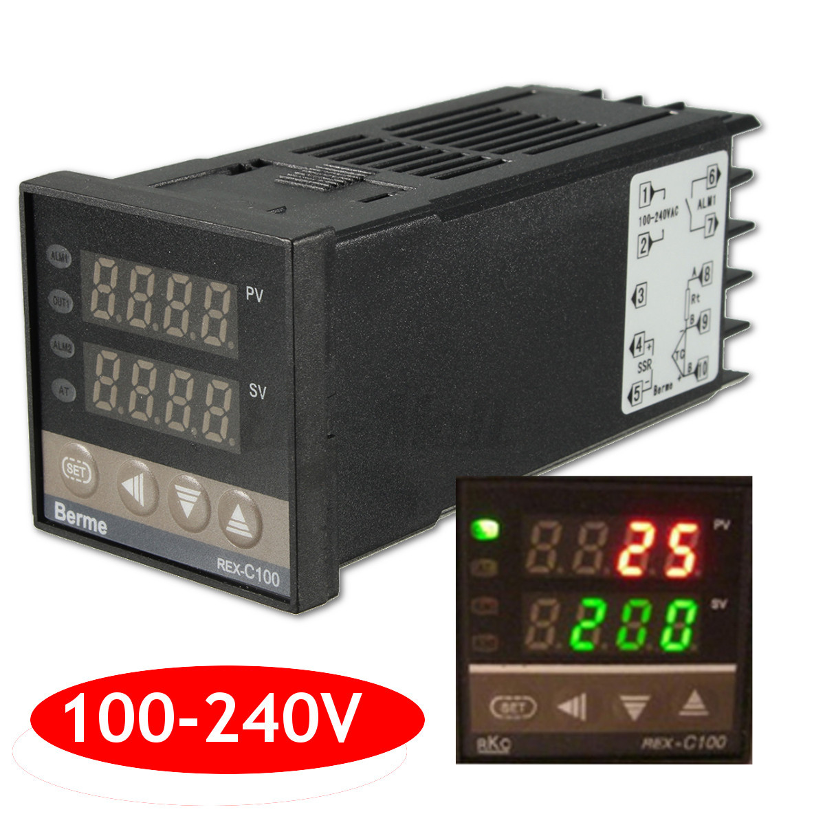 PID REX C100 Temperature Controller   40A SSR   K Thermocouple eBay #C70404