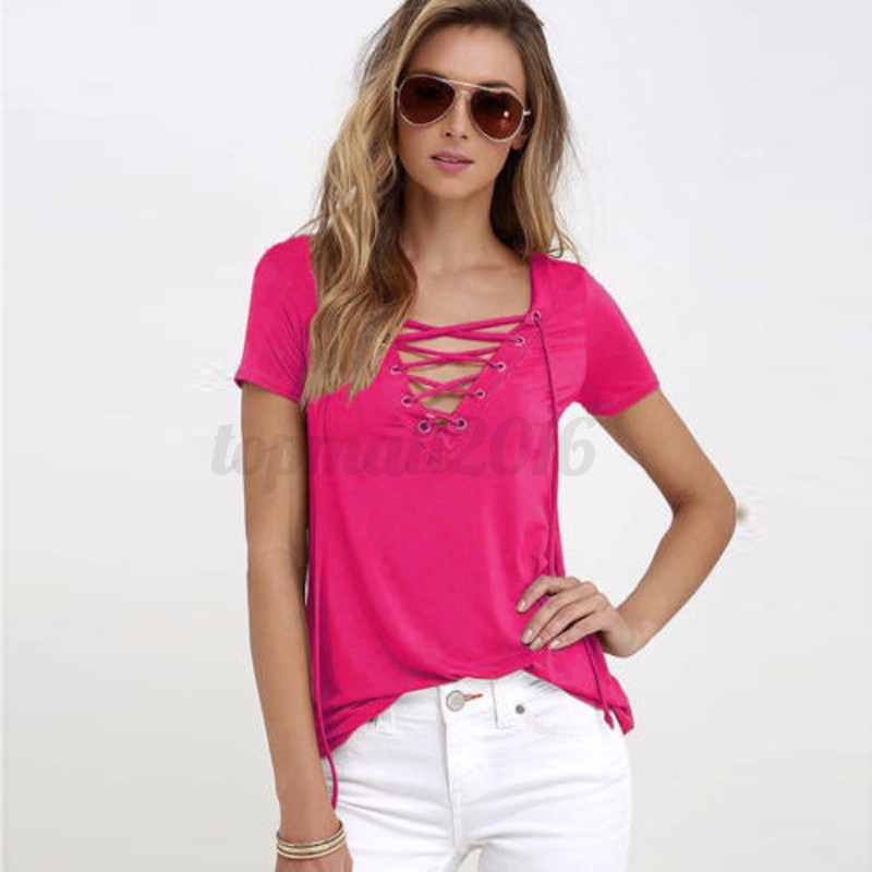 Zanzea AU 8-20 Womens Plunge V-Neck Lace-Up Short Sleeve T-shirt Tops Blouse Tee