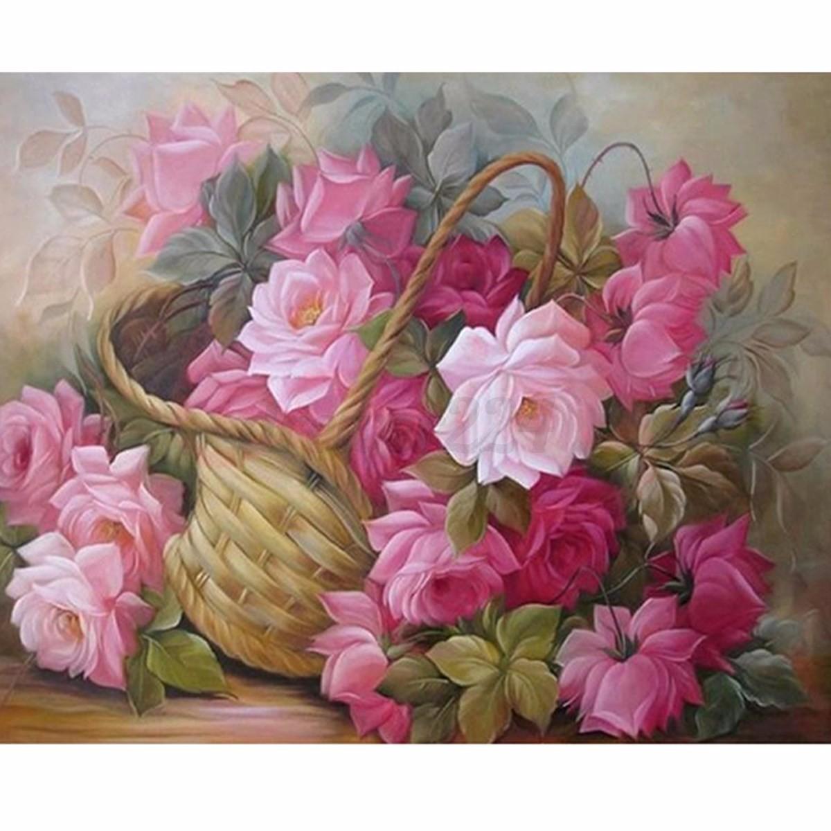 5d diy rose diamond painting cross stitch embroidery kit home wall decor 25x20cm