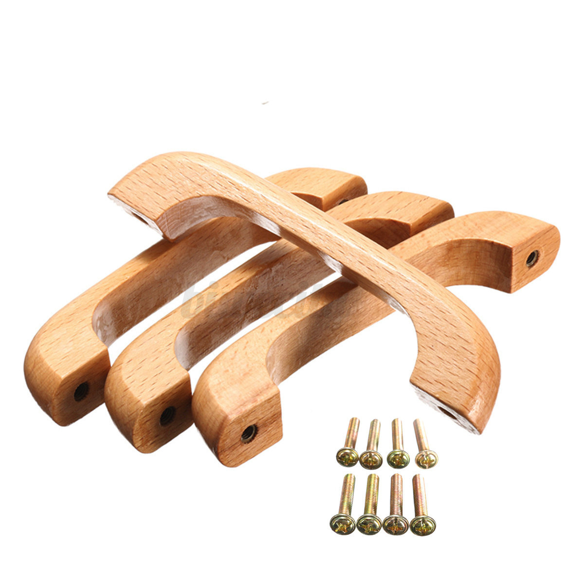 Wooden Furniture Hardware ~ Wooden varnish handles pulls for kitchen cabinet