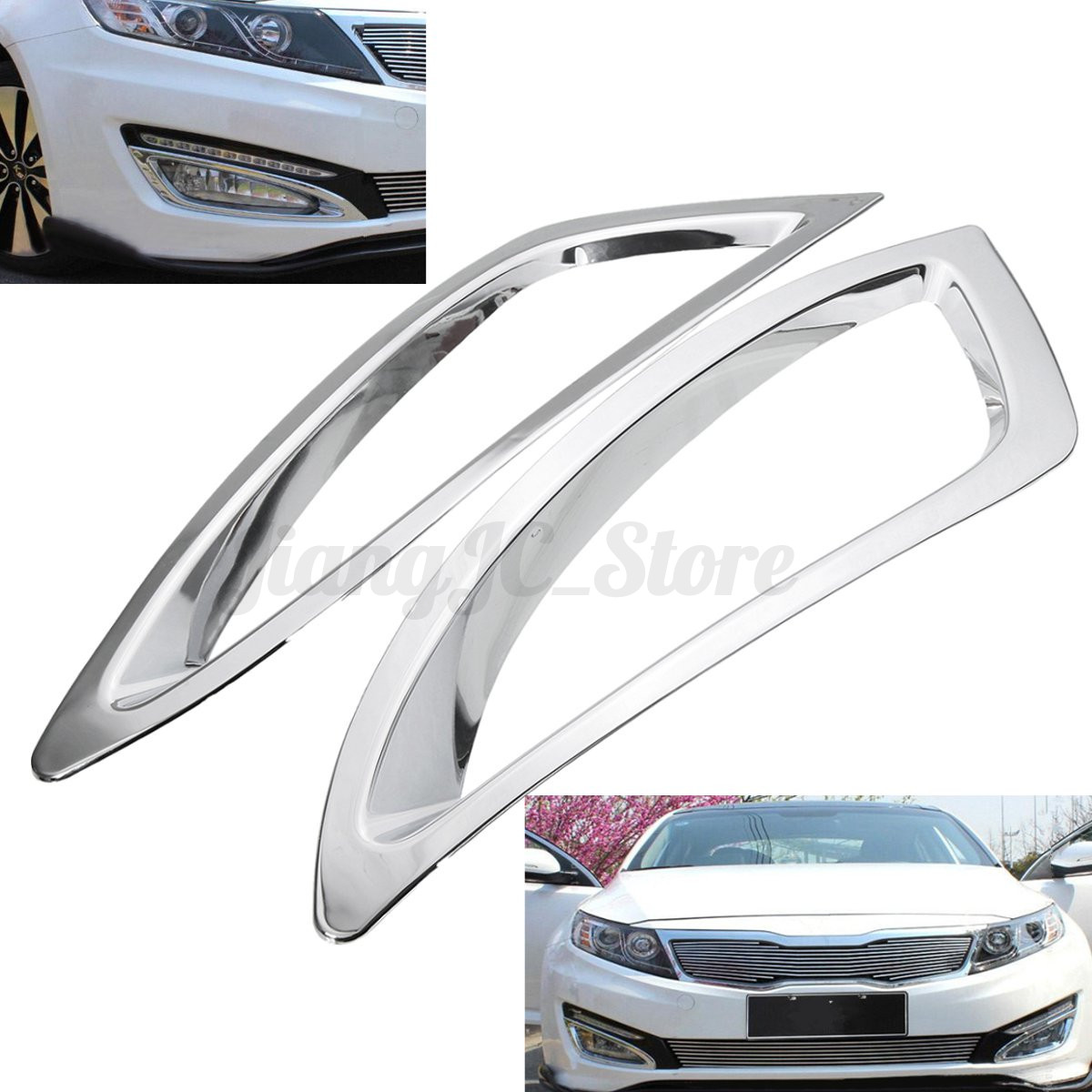 2pcs chrome abs front fog lamp light cover trim for kia. Black Bedroom Furniture Sets. Home Design Ideas