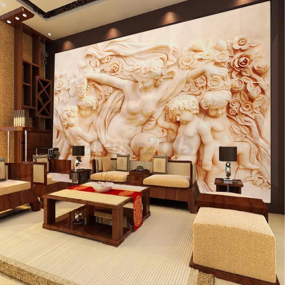 Modern 3d Cherub Wallpaper Background Living Room Mural