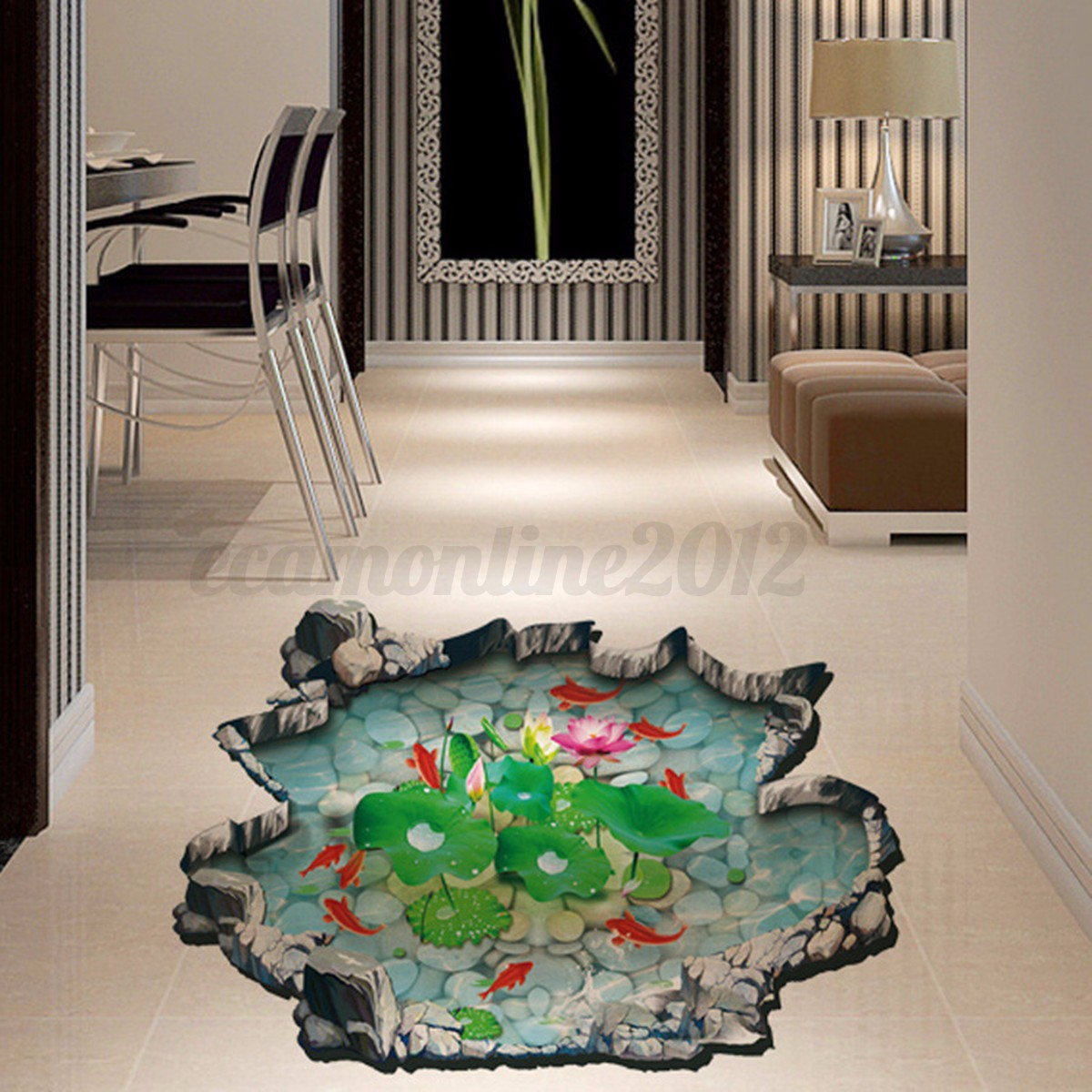 abnehmbare 3d fische teich wand aufkleber boden wandkunst. Black Bedroom Furniture Sets. Home Design Ideas