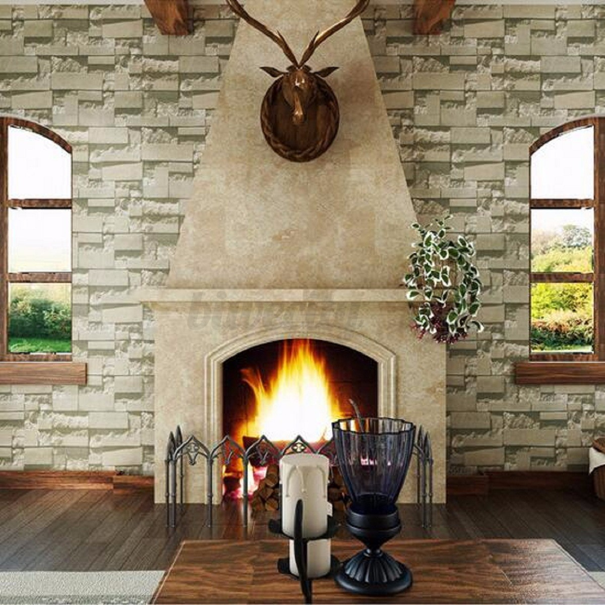 10m 3D Brick Slate Stone Wallpaper Natural Textured