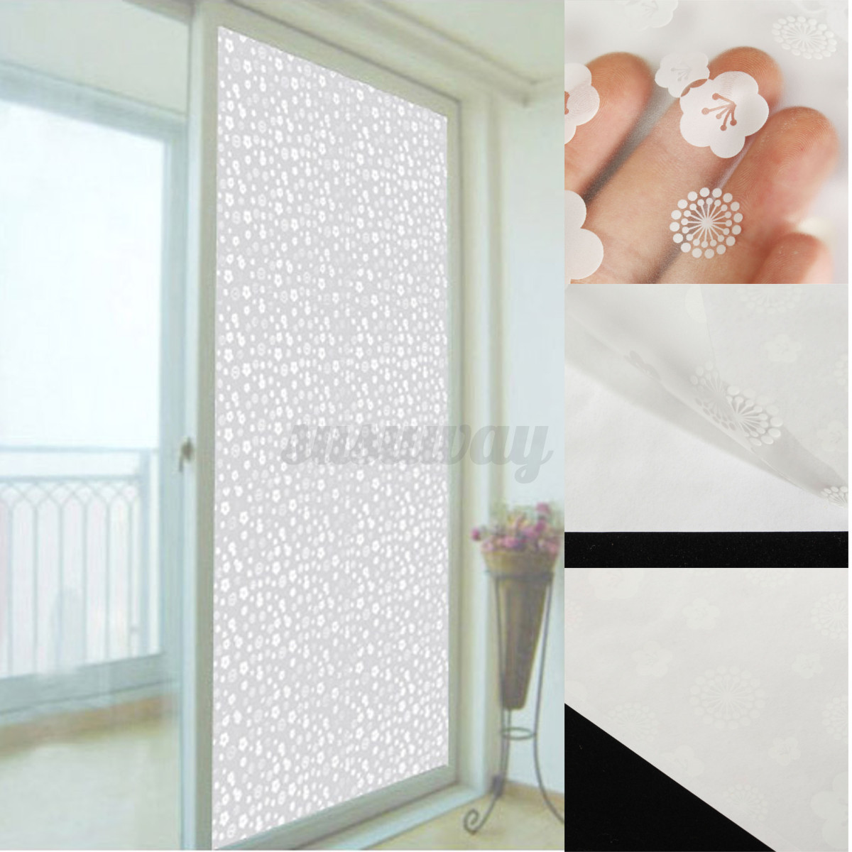 Self Adhesive Waterproof Bathroom Window Home Privacy Frosted Glass Film Sticker Ebay
