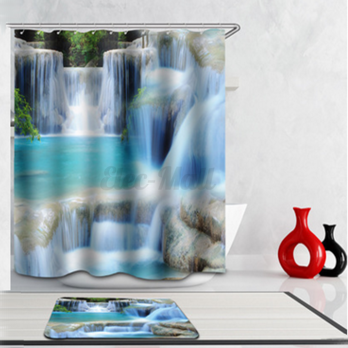 3D Shower Curtain Bathroom Waterproof Mold Prevention