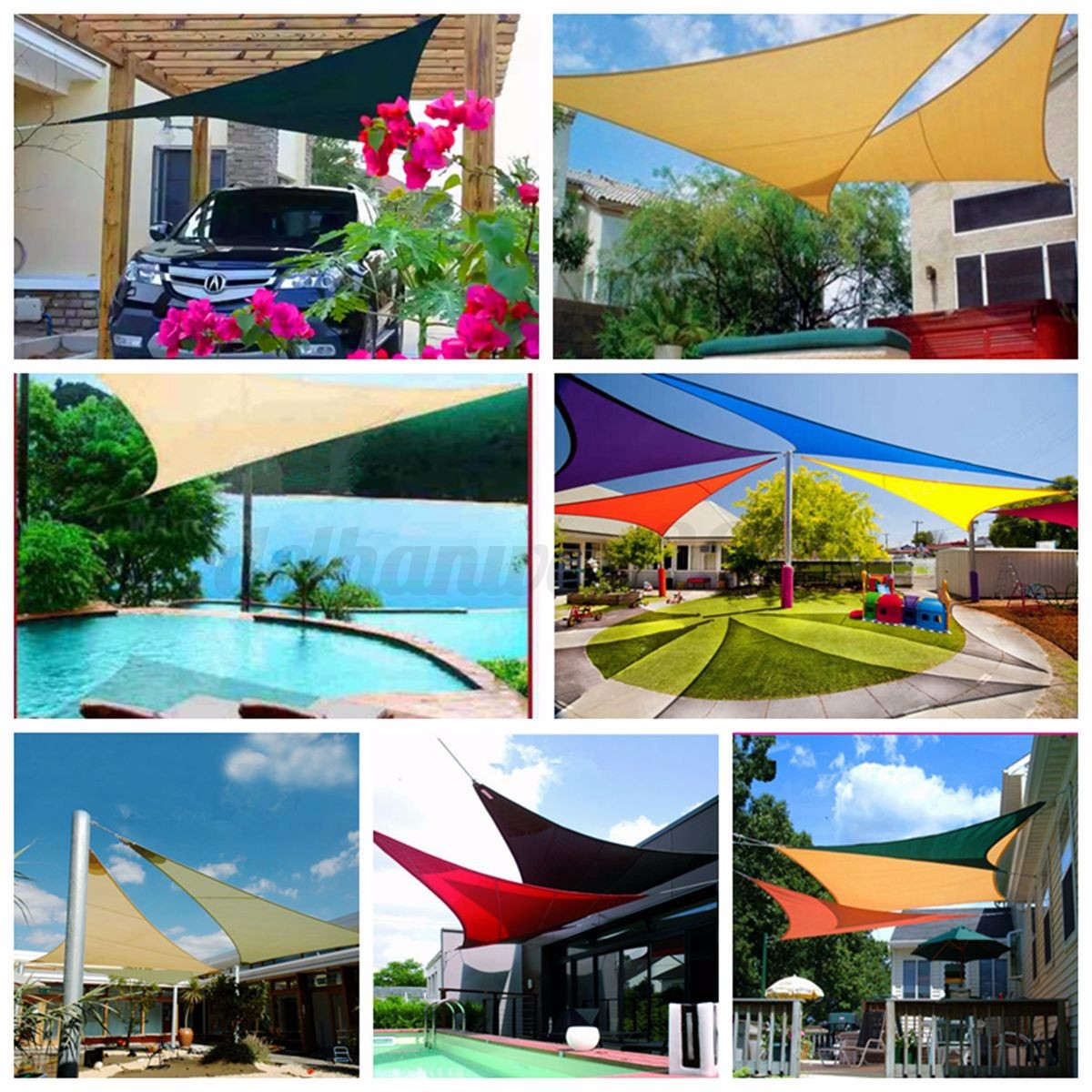 Sun shade sail garden patio awning canopy sunscreen 98 uv for Colorado shade sail