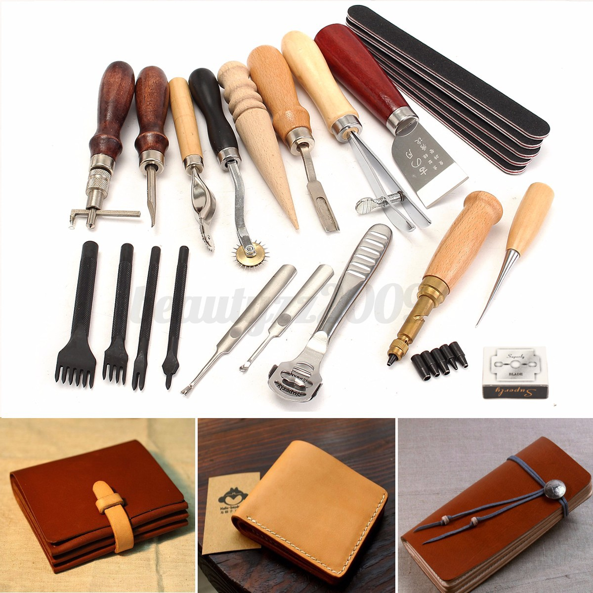 Leather craft punch tool kit stitching carving working