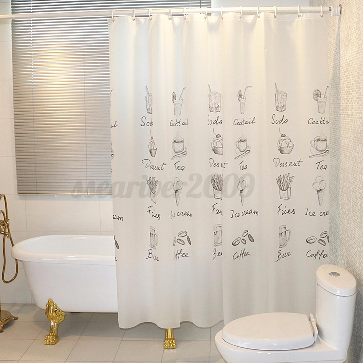 1 8m fabric waterproof bathroom shower curtain panel sheer decor with hooks set. Black Bedroom Furniture Sets. Home Design Ideas