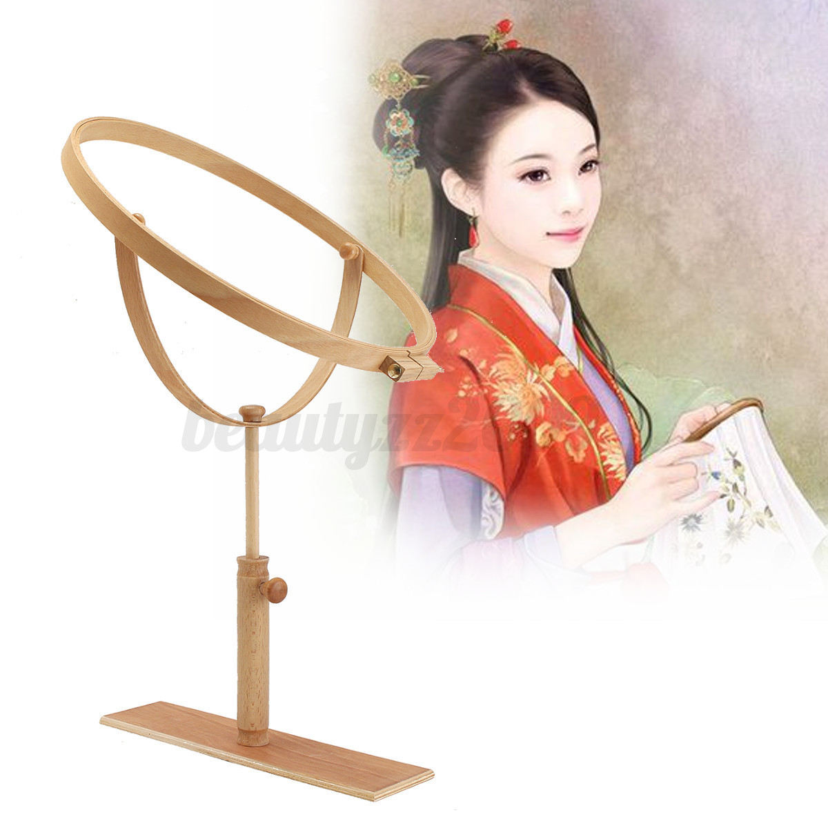 Adjustable embroidery hoop lap frame stand wooden rings