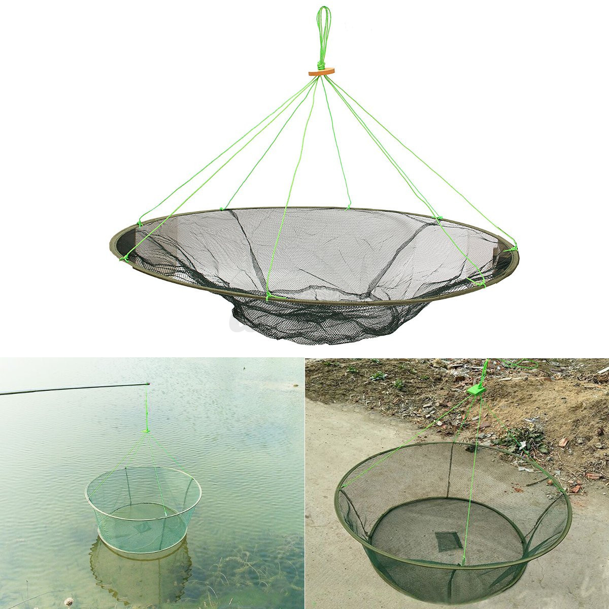 40 foldable prawn bait crab shrimp drop landing fishing for Drop net fishing