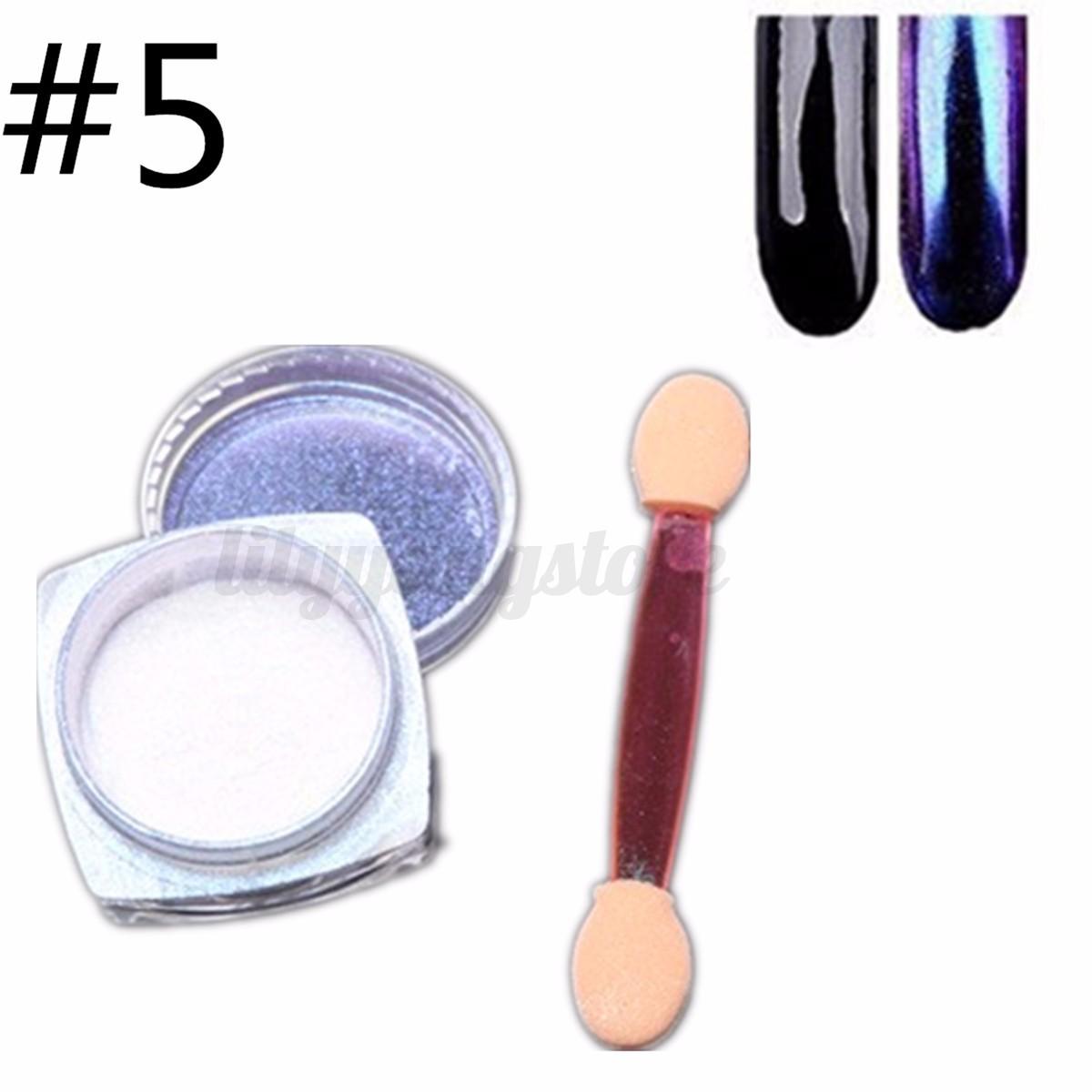 12 Farbe Nagel Pigment Puder Pulver Mirror Powder Nails Chrome Glitter 2g Kit | EBay