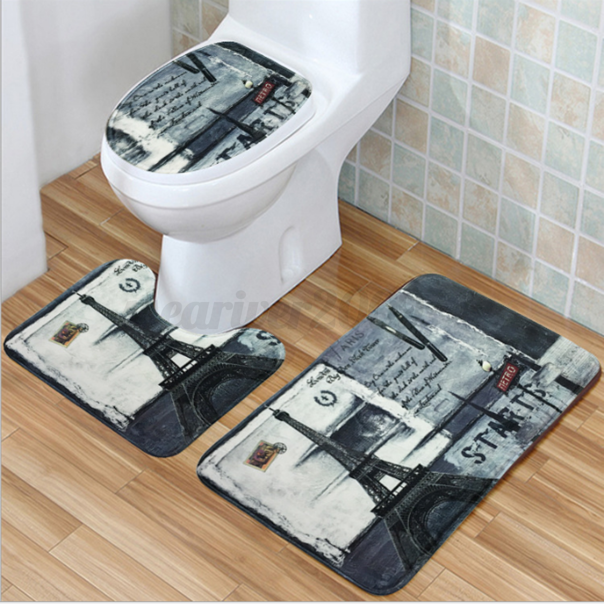 Carpet In A Bathroom: 3Pcs Bath Mat Set Bathroom Toilet Non-Slip Carpet Pedestal