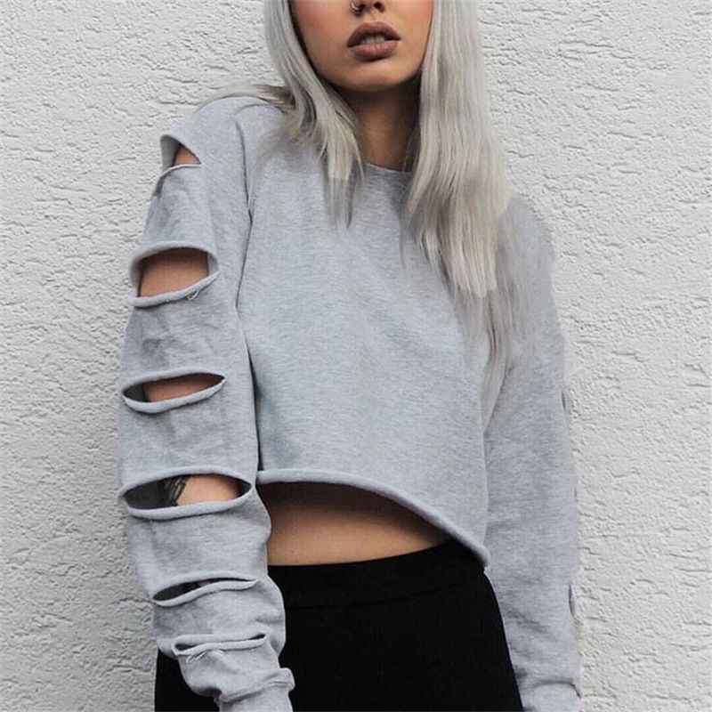 women long sleeve ripped jumper hoodies sweatshirt cropped tops pullover blouse ebay. Black Bedroom Furniture Sets. Home Design Ideas