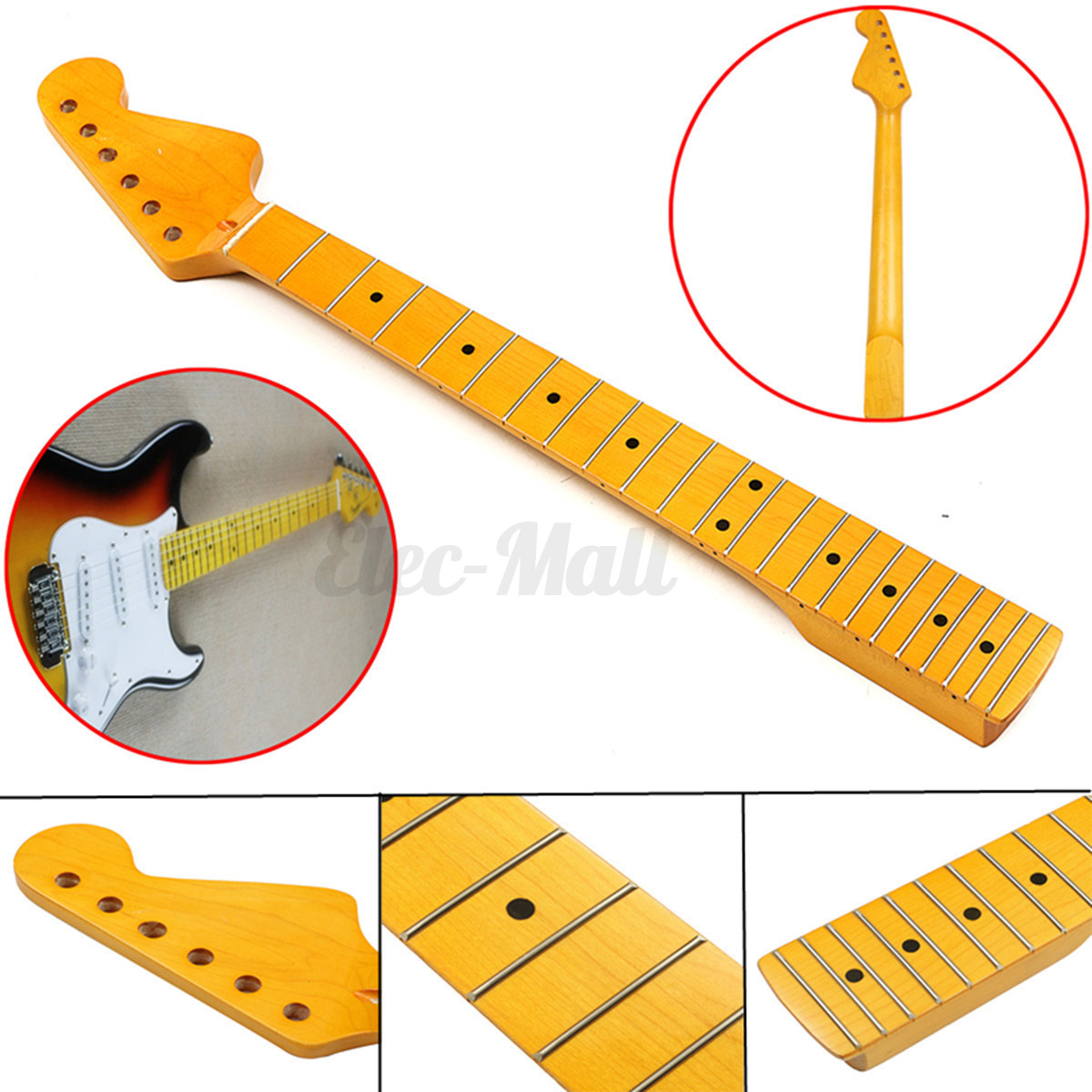 22 fret electric guitar neck maple wood fretboard for st parts replacement new ebay. Black Bedroom Furniture Sets. Home Design Ideas