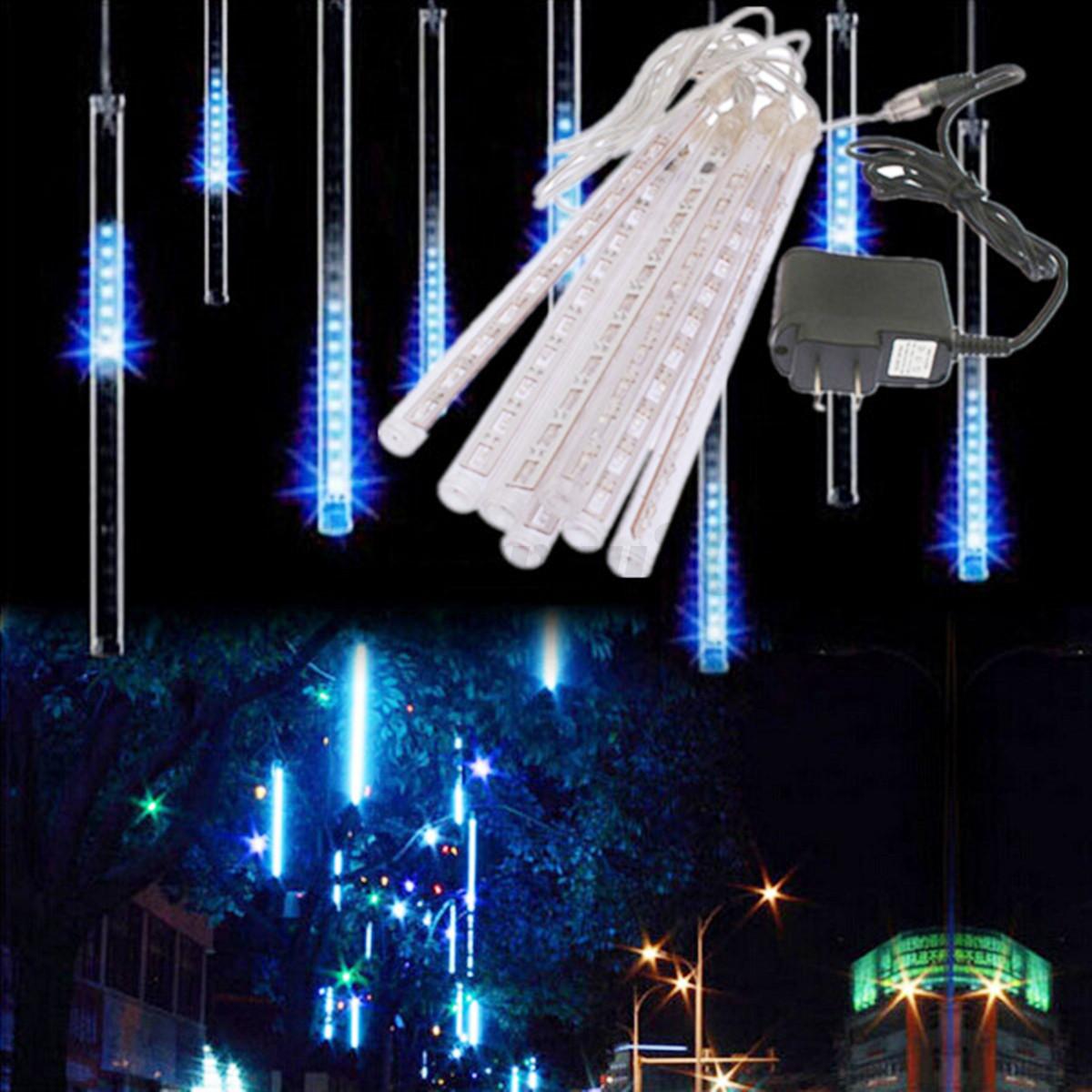 96 led meteor shower falling star rain icicle string. Black Bedroom Furniture Sets. Home Design Ideas