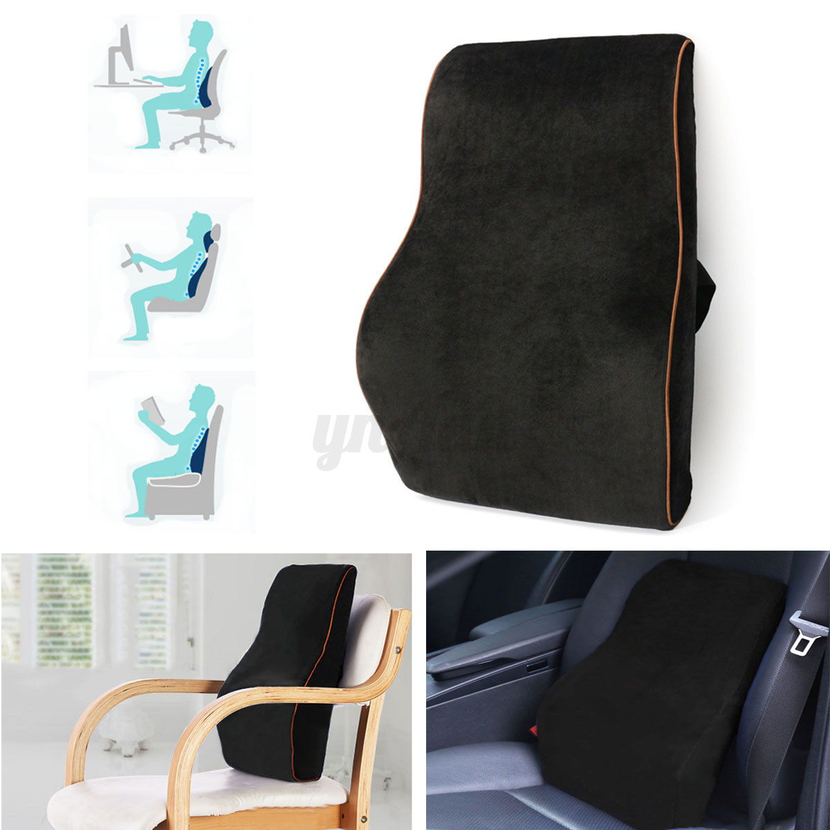 memory foam car seat back waist pillow cushion lumbar support home office chair ebay. Black Bedroom Furniture Sets. Home Design Ideas