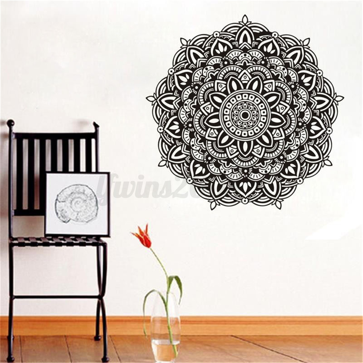 indische blumen mandala wandaufkleber wandtattoo wandsticker wohnzimmer deko eur 9 89. Black Bedroom Furniture Sets. Home Design Ideas