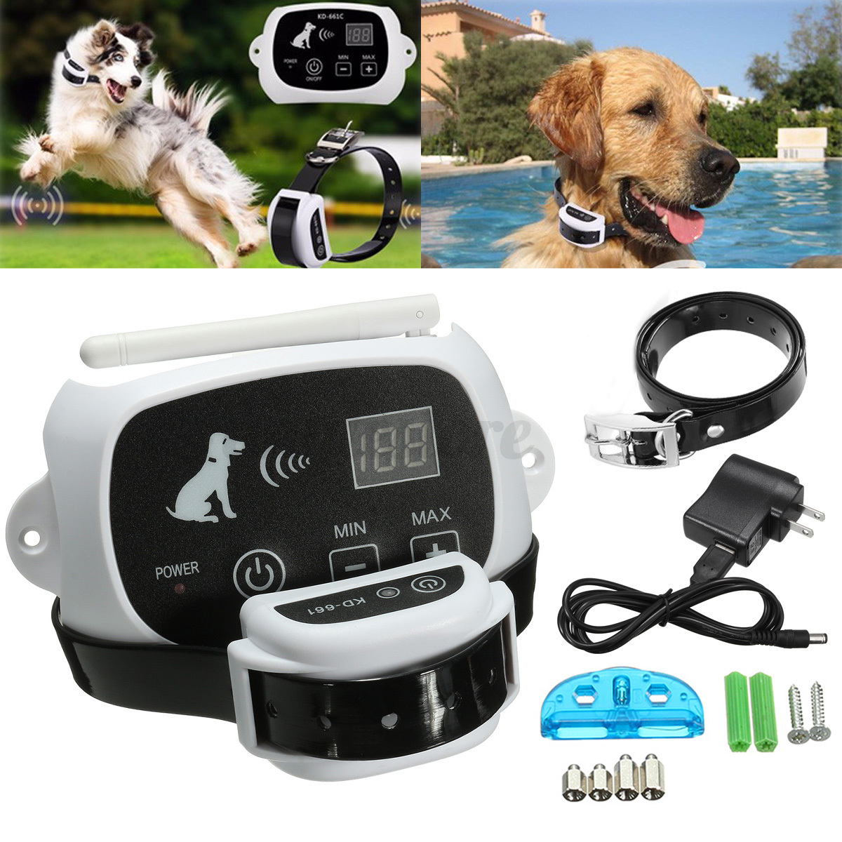 Wireless Pet Dog Fence No-Wire Training Containment System Collar Rechargeable