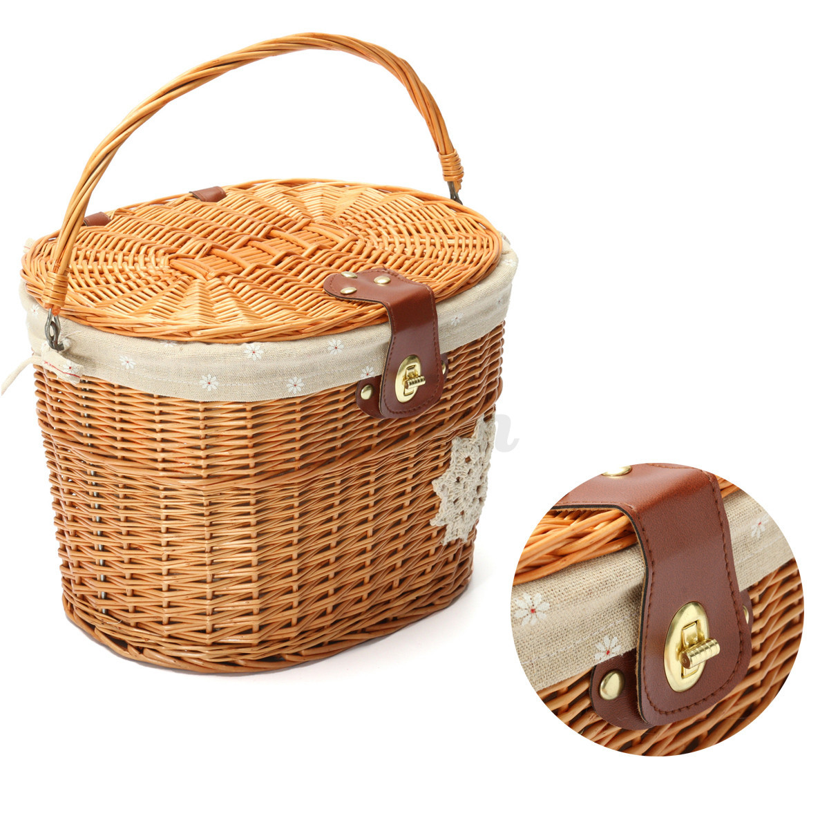 Wicker Bike Basket With Handle : Wicker bicycle bike front basket handlebar hook with lid
