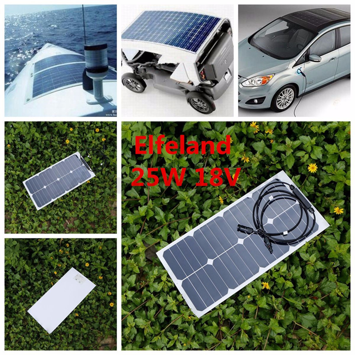 Elfeland 25w 18v Mono Solar Panel Sunpower Battery Charger