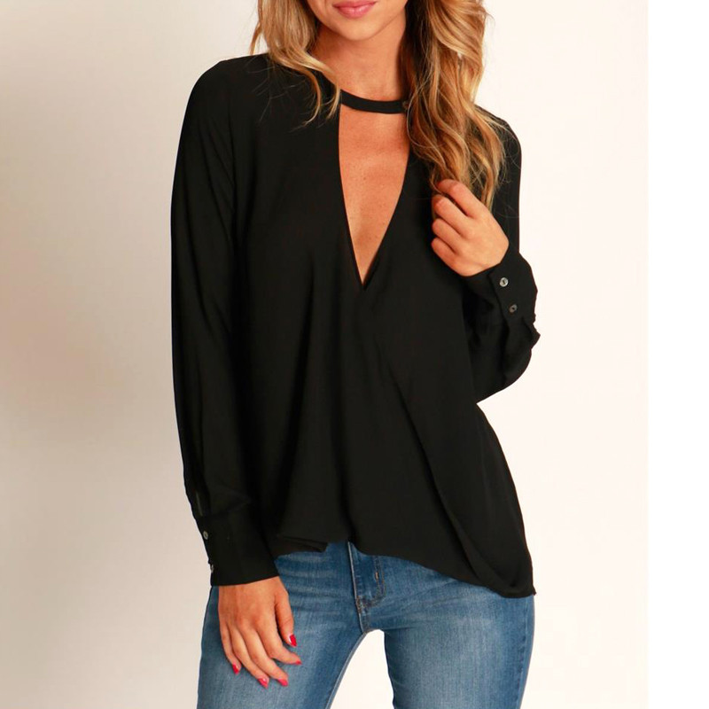 Women low cut loose halter blouse front wrap deep v neck for Low neck t shirts women s