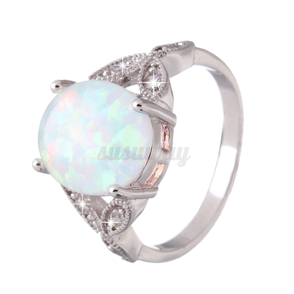 Sterling silver australian fire opal ring wedding for Australian wedding rings