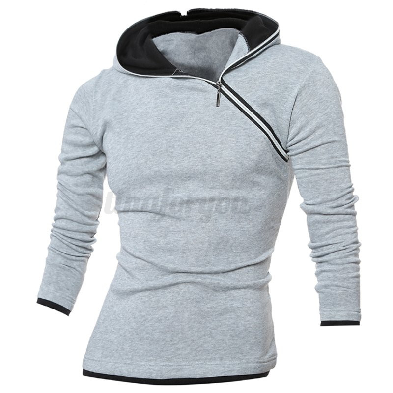 Mens winter warm long sleeve casual slim fit fleece t for Mens long sleeve pullover shirts