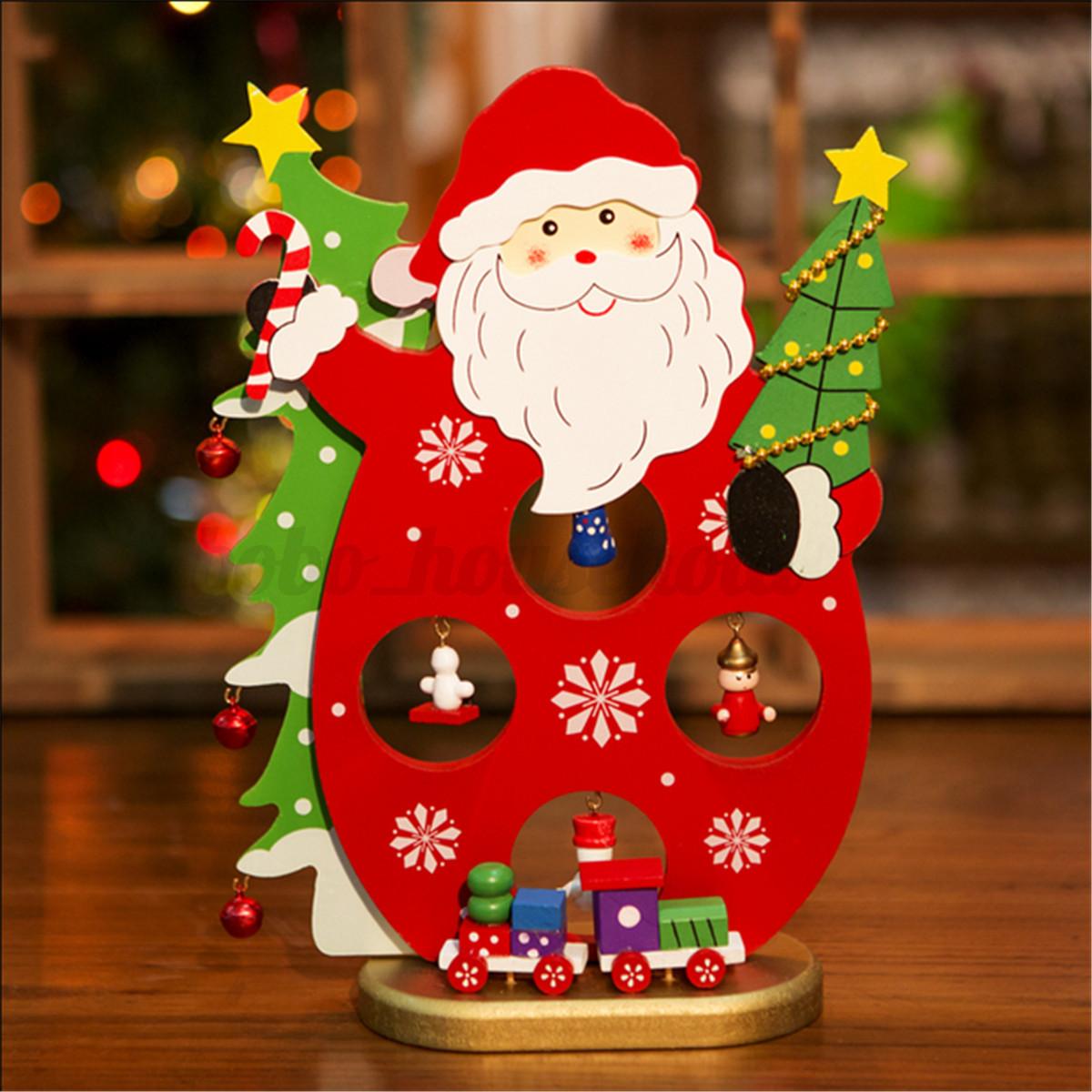 Santa snowman wooden christmas tree ornaments desk table