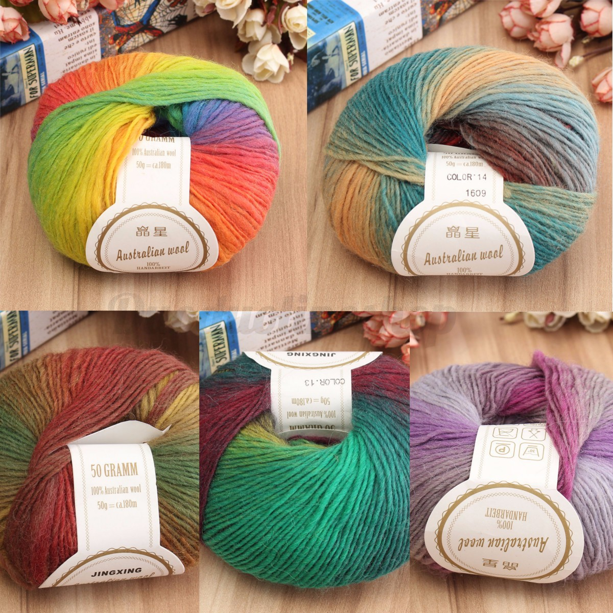 NEW! LOT of 1 Skeins x 50g Chunky Hand-woven Colors Knitting Scores wool yarn A