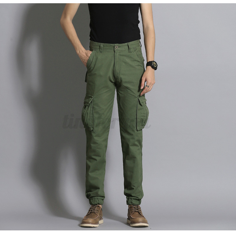 Stylish Men's Slim Cuff Cargo Pants Cotton Slim Fit Casual ...