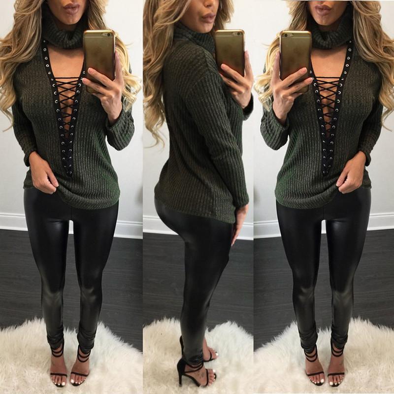 Sexy Women Long Sleeve Turtleneck Deep V Low Cut Knitted Sweater Loose Shirt Top